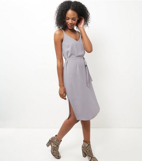 Grey Tie Waist Midi Slip Dress  | New Look