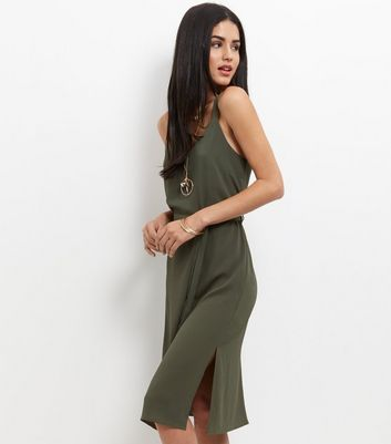khaki-tie-waist-midi-slip-dress