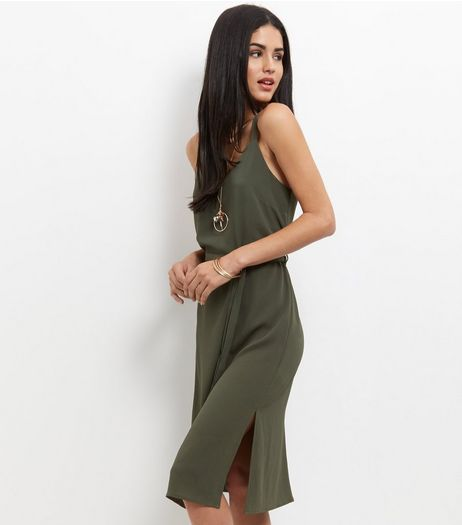 Khaki Tie Waist Midi Slip Dress  | New Look