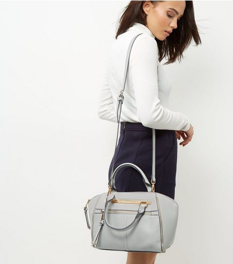 Grey Double Strap Zip Bowler | New Look