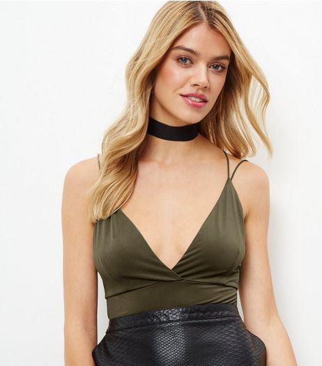 Khaki Cross Stap Back V Neck Bodysuit  | New Look