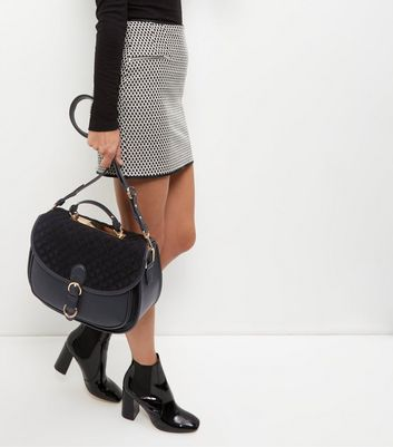 Black Leather-Look Quilted Panel Satchel