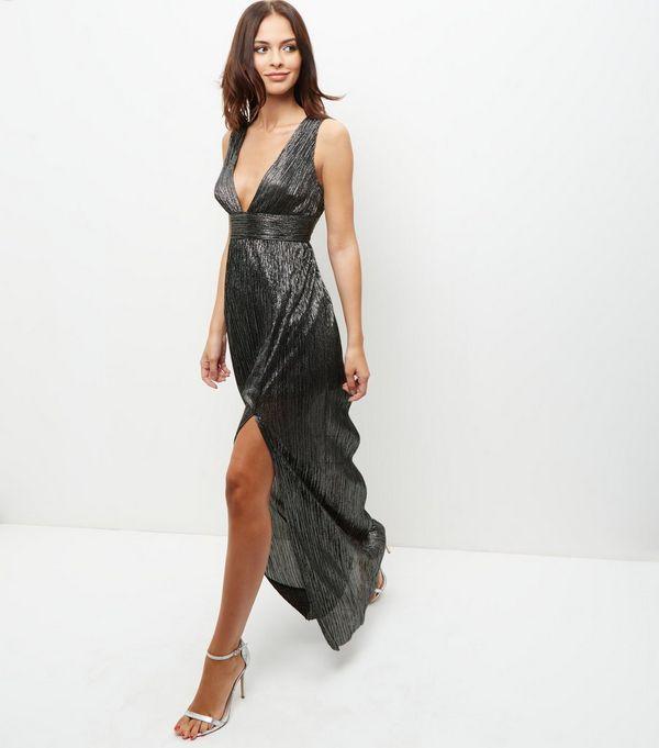 Silver pleated maxi dress