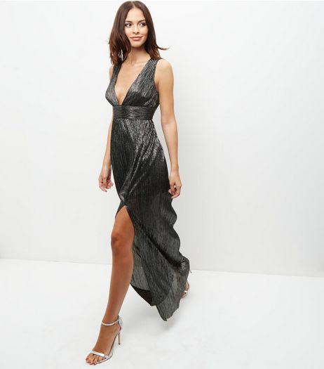 Silver Metallic Pleated Plunge V Neck Maxi Dress | New Look
