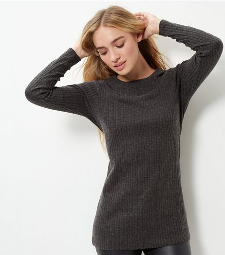 Grey Ribbed Brushed Longline Top  | New Look