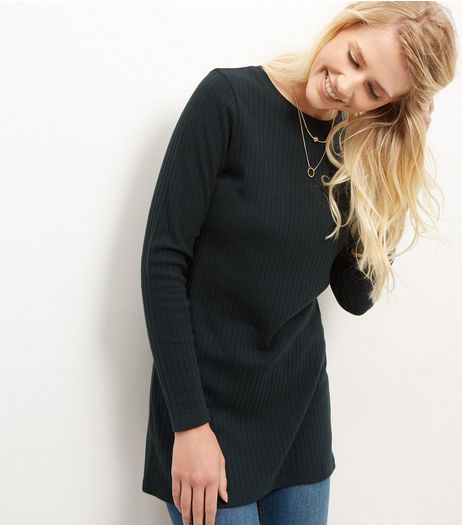 Dark Green Brushed Ribbed Longline Top | New Look