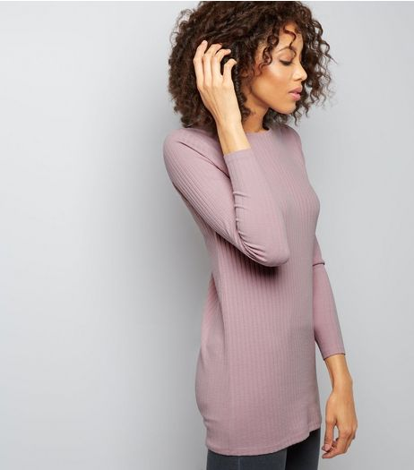 Pink Ribbed Brushed Tunic  | New Look