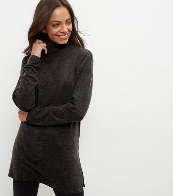 Dark Grey Brushed Funnel Neck Longline Jumper