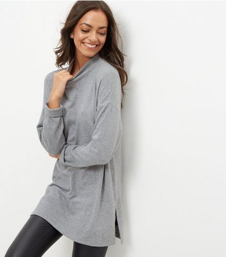 Grey Brushed Funnel Neck Tunic | New Look