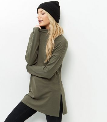 Olive Green Funnel Neck Tunic