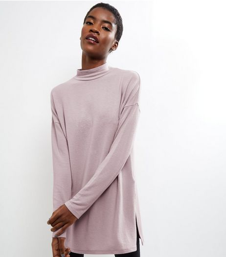 Pink Brushed Funnel Neck Tunic | New Look