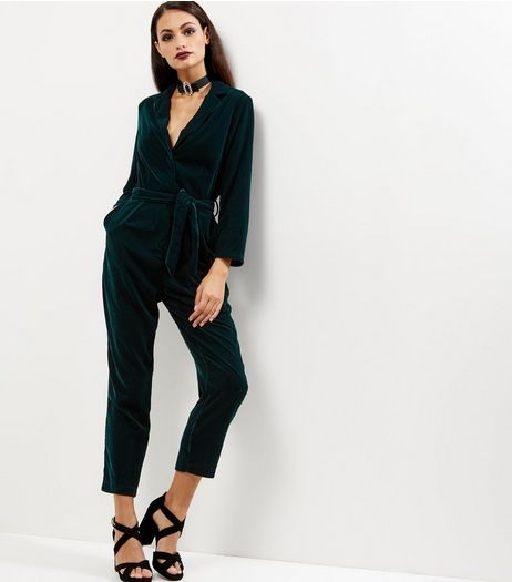 Dark Green Velvet Wrap Front Long Sleeve Jumpsuit  | New Look