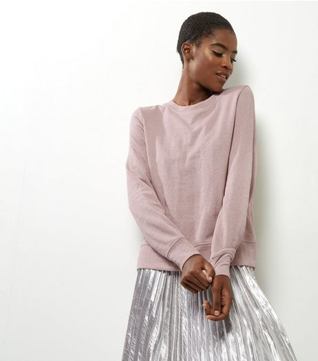 Shell Pink Metallic Long Sleeve Sweater  | New Look