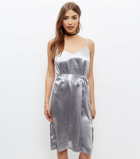 Silver Metallic Sateen Belted Slip Dress  | New Look