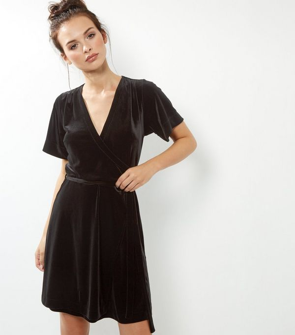 Black Velvet V Neck Wrap Front Dress