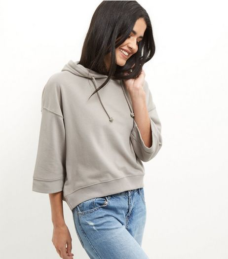 Grey Cropped 3/4 Sleeve Hoodie  | New Look