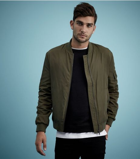 Khaki Pocket Sleeve Bomber Jacket | New Look