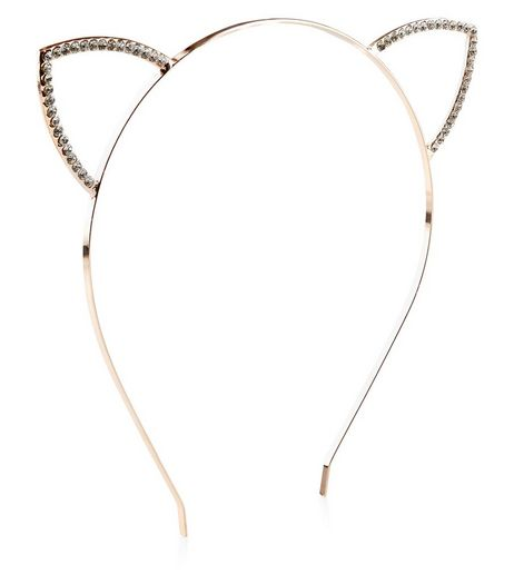 Rose Gold Diamante Cat Ears Headband | New Look