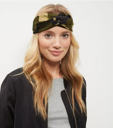 Khaki Camo Print Turban Headband | New Look