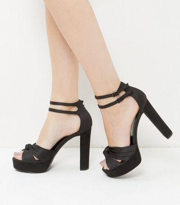 Sandalo  donna Black Satin Knot Platform Heels