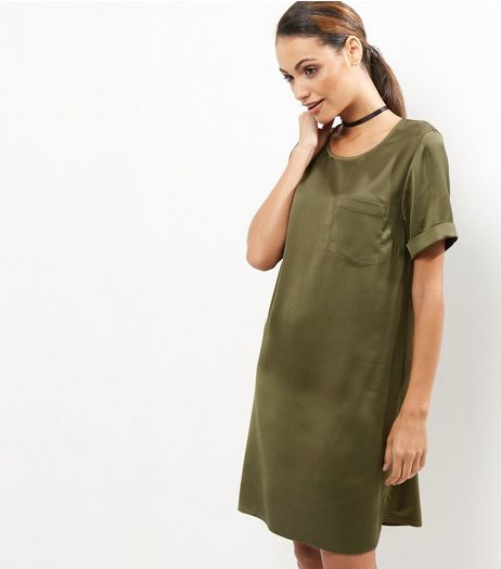 Khaki Sateen Single Pocket Front T-Shirt Dress | New Look