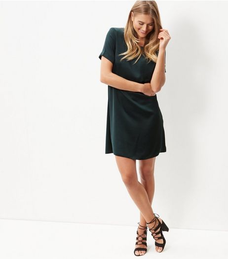 Dark Green Sateen Single Pocket Front T-Shirt Dress | New Look