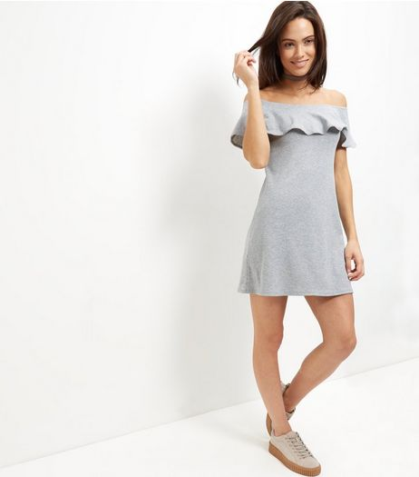 Grey Frill Trim Bardot Neck Dress  | New Look