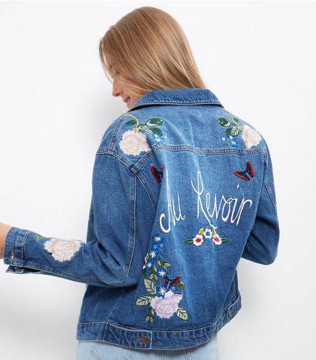 Veste bleue en jean à broderies fleurs et Au Revoir | New Look