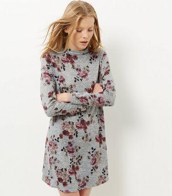 Light Grey Floral Print Funnel Neck Swing Dress