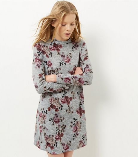 Light Grey Floral Print Funnel Neck Swing Dress | New Look