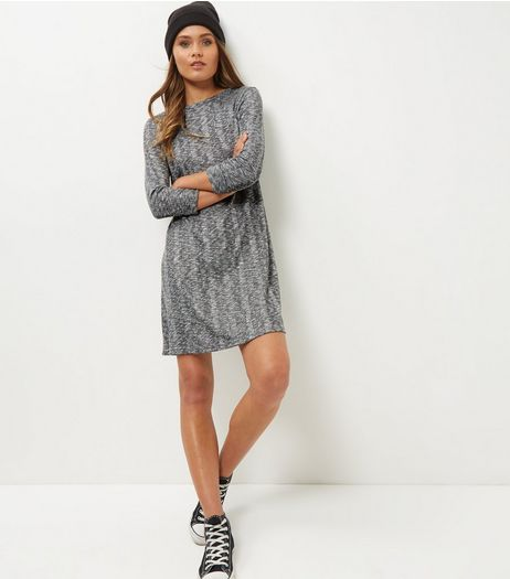 Grey Ribbed Long Sleeve Swing Dress  | New Look