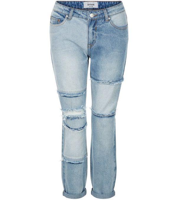 Petite Blue Patchwork Boyfriend Jeans