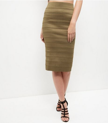 Khaki Bandage Bodycon Pencil Skirt  | New Look