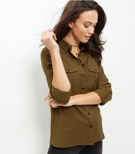 Khaki Roll Sleeve Military Shirt  | New Look