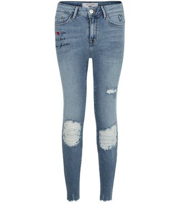 Petite Blue Sorry Not Sorry Print Ripped Skinny Jeans