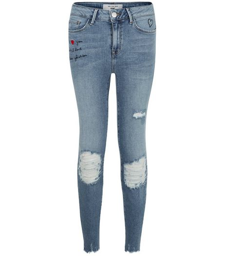 Petite Blue Sorry Not Sorry Print Ripped Skinny Jeans | New Look