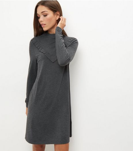 Grey Frill Trim Long Sleeve Jersey Dress | New Look
