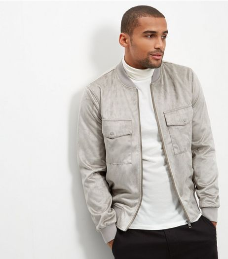 Stone Suedette Pocket Front Bomber Jacket  | New Look