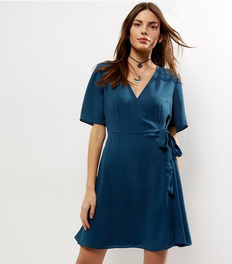 Dark Green Wrap Front Tie Waist Dress | New Look
