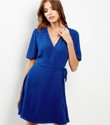 Blue Crepe Wrap Front Tie Waist Dress | New Look