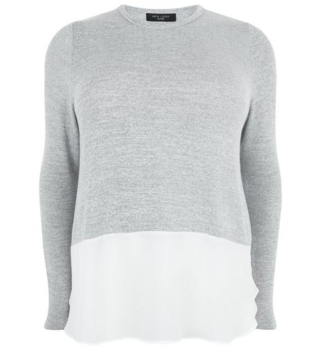 Curves Grey Fine Knit 2 in 1 Top | New Look