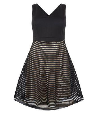 Curves Black Stripe Mesh Skater Dress