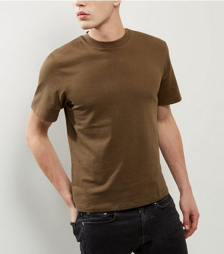 Khaki Short Sleeve Boxy T-Shirt  | New Look