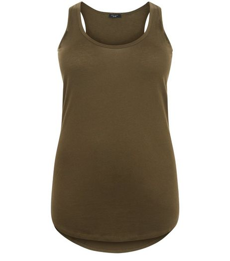 Curves Khaki Round Neck Vest | New Look