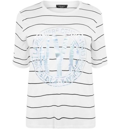 Curves White Stripe Foil NYC Print T-Shirt | New Look