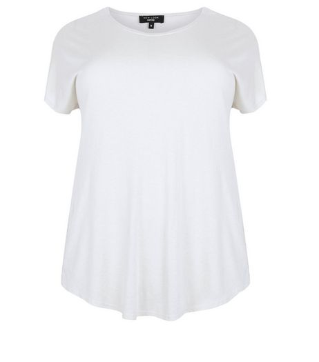 Curves White Side Split T-shirt | New Look