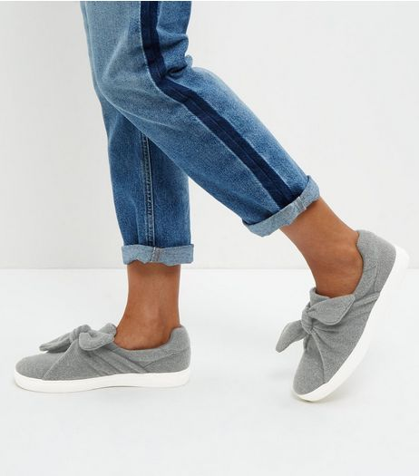 Grey Twist Front Slip On Shoes | New Look
