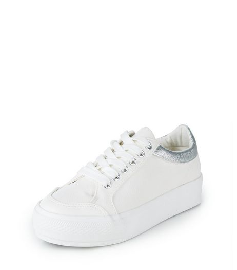 Teens White Metallic Trim Trainers | New Look