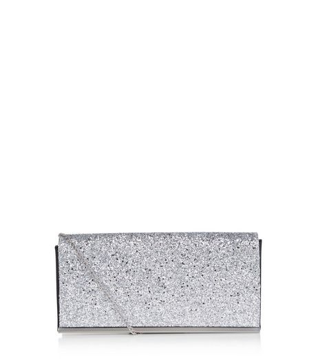 Silver Glitter Clutch Bag  | New Look