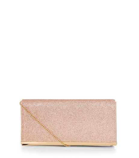 Rose Gold Glitter Clutch | New Look